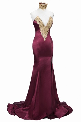 Burgundy Lace-Appliques Sexy Mermaid High-Neck Front-Split Prom Dress SP0326_1