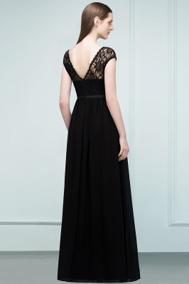 Short Floor-length Lace Dresses Sleeves A-line Bridesmaid with Sash_2