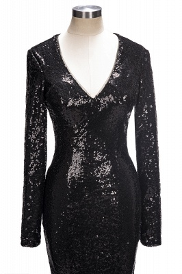 Black sequins prom dress, long sleeve mermaid evening gowns_1