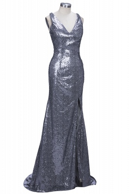 Glamorous V-Neck Sleeveless Sequins Mermaid 2020 Prom Dress TH304_1
