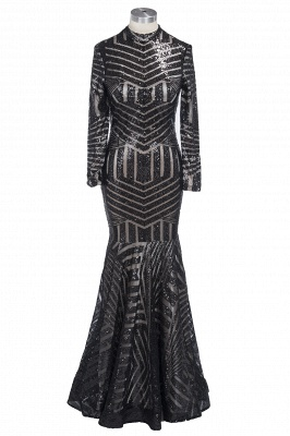Sequined Black Mermaid High-Neck Sexy Long-Sleeves Prom Dress jj0085_1