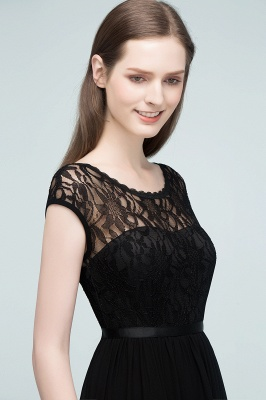 Short Floor-length Lace Dresses Sleeves A-line Bridesmaid with Sash_5