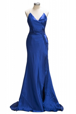 Royal-Blue Open-Back V-Neck A-Line Side-Slit Sexy Evening Dress qq0194_1