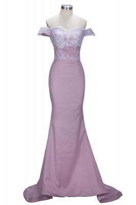Blush Pink Off-the-Shoulder Lace Appliques Mermaid Prom Dresses_1