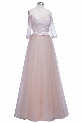 Off-the-shoulder Tulle Lace A-line Glamorous Half-Sleeves Prom Dresses_1