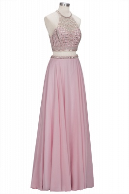 Pink Crystals Floor-length A-line Two-piece Delicate Evening Dress_1