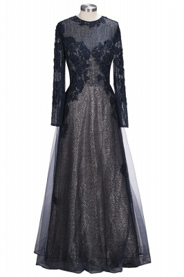 Lace-Appliques Black Long-sleeve Modern Scoop Evening Dress_1