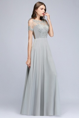 Beaded Cheap Scoop Appliques A-Line Silver Cold-Shoulder Bridesmaid Dresses_2