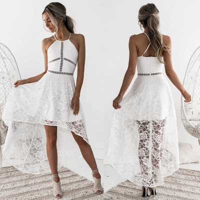 Halter Sleeveless Short Homecoming Dress   2020 Lace Party Gowns_7