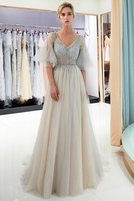 Stunning Bubble Sleeve Prom Dresses | 2020 Long Tulle Evening Gown With Beadings_2