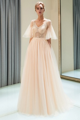 Stunning Bubble Sleeve Prom Dresses | 2020 Long Tulle Evening Gown With Beadings_1