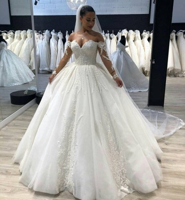 Vintage Ball-Gown Lace Appliques Bridal Gown | Long-Sleeves Off-The-Shoulder Wedding Dresses_2