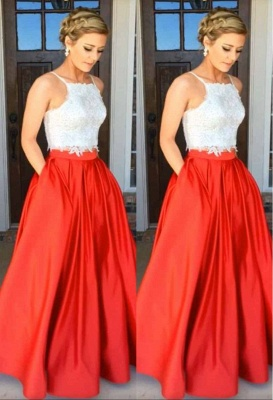 A-Line Glamorous Two-Piece Lace Prom Dress_1