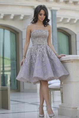 Gorgeous Strapless 2020 Sequins Appliques Short Homecoming Dress MH_1