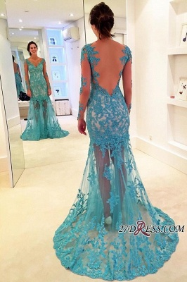 2020 Sweep-Strap V-neck Mermaid Long-Sleeve Delicate Lace Prom Dress_1