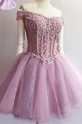 Gorgeous Off-the-Shoulder Short Homecoming Dress | 2020 Sequins Short Dress With Appliques_2