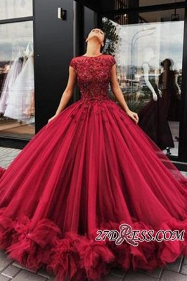 Short Sleeves Burgundy Prom Dresses | 2020 Ball Gowns Evening Dress With Lace BC0916_2
