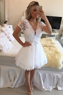 Lovely Short Sleeve White Homecoming Dress 2020 Lace Short Pearls BT0_2