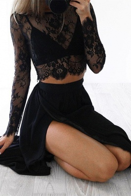 Sexy Black Long Sleeve 2020 Prom Dress Two Pieces Lace Front Split BA4951_2