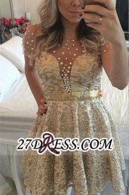 A-line Gold Short-Sleeves Beadings Short Lace Homecoming Dress_2