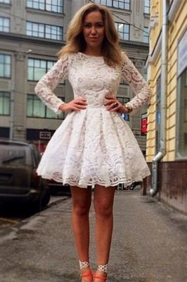 Elegant Long Sleeve Short Homecoming Dress With Lace_1