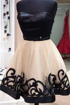Elegant Sweetheart Short Tulle Homecoming Dress With Beadings_1