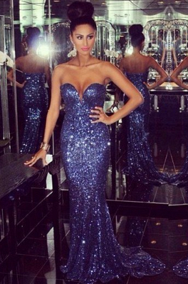 Glamorous Sweetheart Mermaid Prom Dresses Sequined Sexy Evening Dresses_1