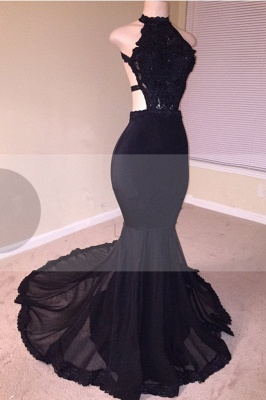 Black Lace Prom Dress | 2020 Halter Party Dress With Appliques BA8130_2