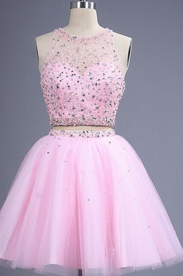Hot Sale Pink two Pieces Short Prom Dress Beadings Tulle Homecoming Dress_1