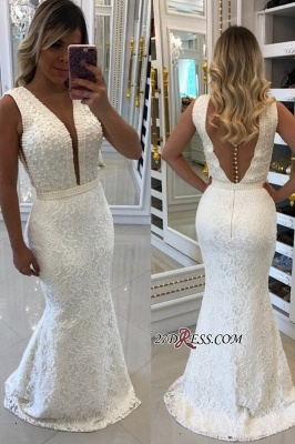 White pearls evening dress, 2020 mermaid prom dresses_1