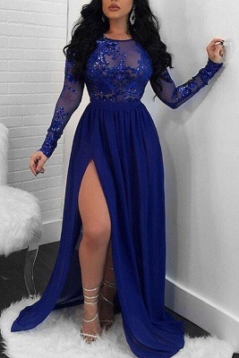 Modern Long Sleeve Lace Front Split Prom Dress | Royal Blue Prom Dress BA9080_2