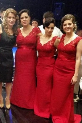 Modern V-neck Red Mermaid Bridesmaid Dress With Lace Appliques_1