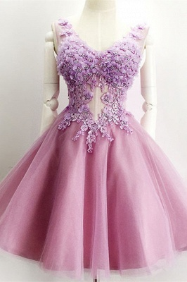 Beautiful V-Neck Sleeveless 2020 Short Prom Dress 2020 Appliques Tulle Homecoming Dress_2