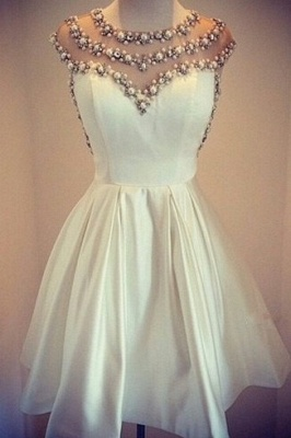 Lovely White Pearls 2020 Short Prom Dress Cap Sleeve Vintage Homecoming Dress_1