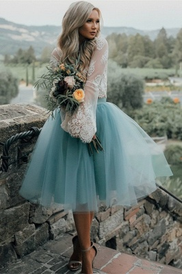 Long Sleeve Lace 2020 Short Prom Dress Tulle Party Gowns_2
