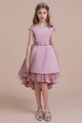 Cap Sleeve A-line High-low Flower Girl Dress Satin Tulle Girls Dresses for Wedding
