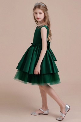 Tulle A-line Flower Girl Dress Satin Bow Beading Bridal Girl Dresses_6