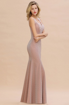 Mermaid V-Neck Floor Length Lace Long Cocktail Dress_15