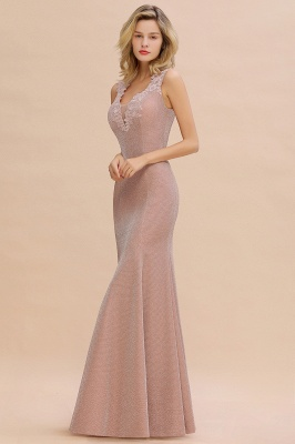 Mermaid V-Neck Floor Length Lace Long Cocktail Dress_14