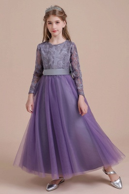 Fall Tulle Flower girl Dresses Long SLeeve Little Girls Floral Dress
