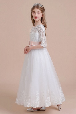 Illusion Lace Flower Girl Dress Half Sleeve Tulle Ankle Length girls dresses for weddings_6