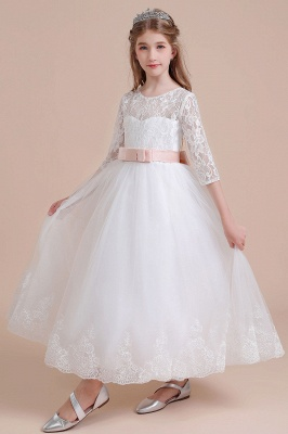 Illusion Lace Flower Girl Dress Half Sleeve Tulle Ankle Length girls dresses for weddings_9