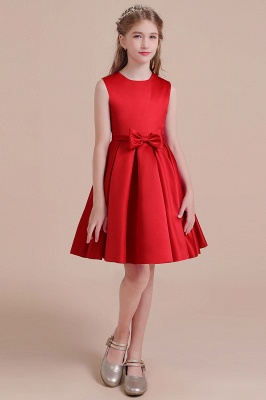 Cute Red Flower Girl Dresses Knee Length Flower Dress Wedding_1