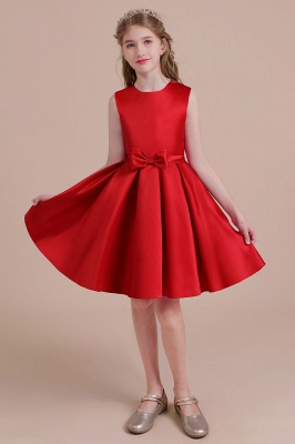 Cute Red Flower Girl Dresses Knee Length Flower Dress Wedding_6