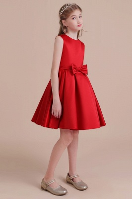 Cute Red Flower Girl Dresses Knee Length Flower Dress Wedding_4