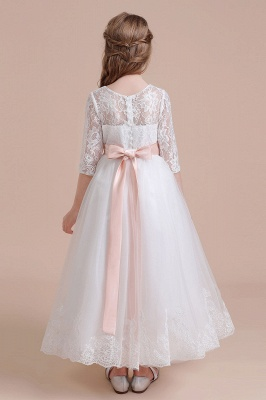 Illusion Lace Flower Girl Dress Half Sleeve Tulle Ankle Length girls dresses for weddings_3