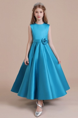 Awesome Sleeveless Satin Flower Girl Dress Aline Grils Blue Flower Dresses