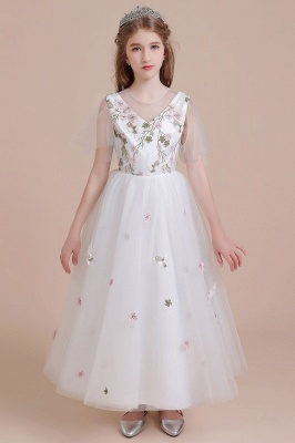 Short Sleeve Kids Wedding Flower Girl Dress Floral Dresses for Girls