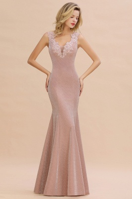 Mermaid V-Neck Floor Length Lace Long Cocktail Dress