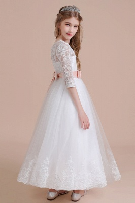 Illusion Lace Flower Girl Dress Half Sleeve Tulle Ankle Length girls dresses for weddings_5